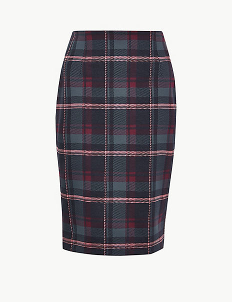 Jersey Checked Pencil Skirt