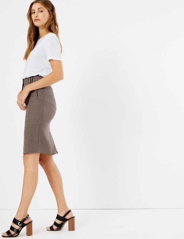 d134a397c Checked Pencil Midi Skirt