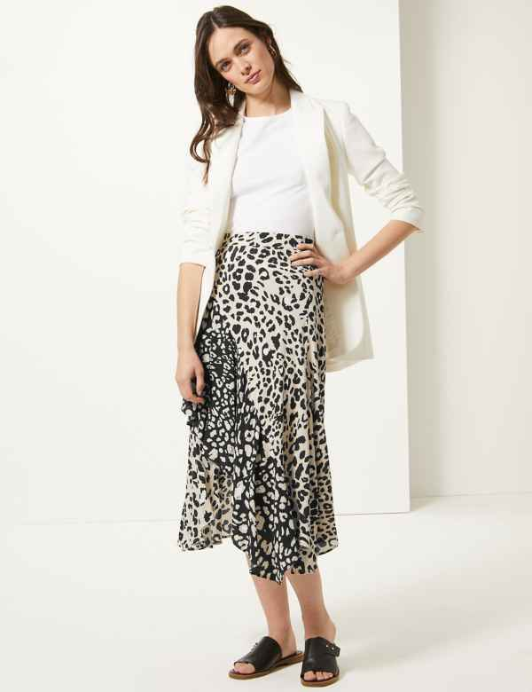 132ba10b1 Animal Print Wrap Style Midi Skirt