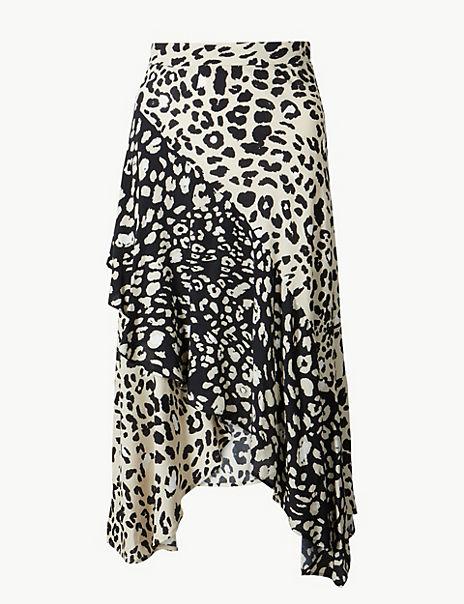 Animal Print Wrap Style Midi Skirt