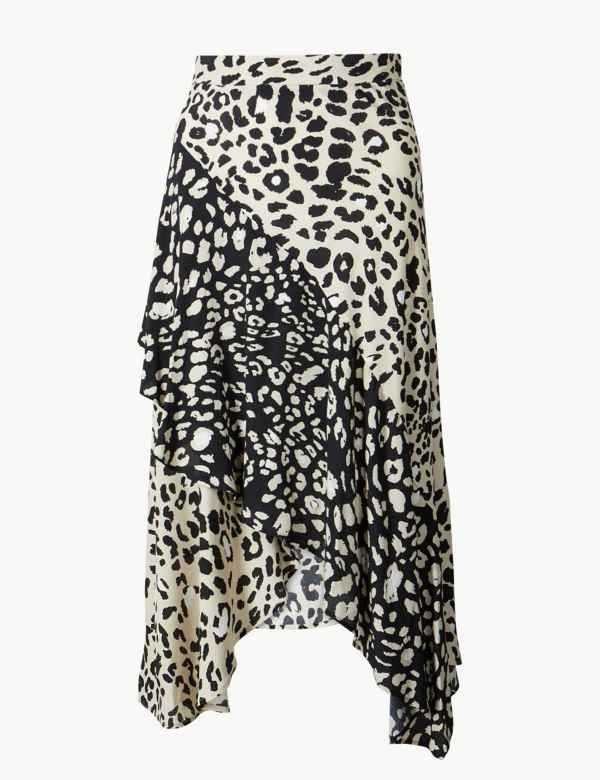 9bc4cfe5390 Animal Print Wrap Style Midi Skirt. M S Collection