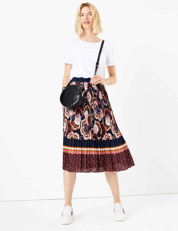 ecc5745bc18a Floral Stripe Pleated Midi Skirt