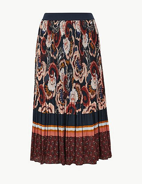 Floral Stripe Pleated Midi Skirt