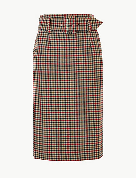 Gingham Pencil Skirt