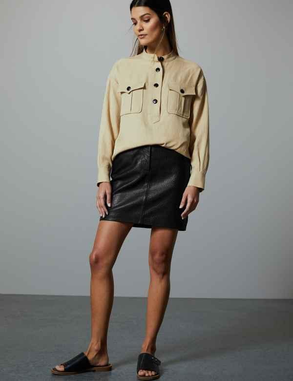 6d5c9653988 Leather Textured Mini Skirt