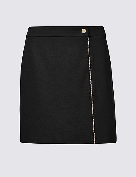 Ponte Zipped Through Mini Skirt