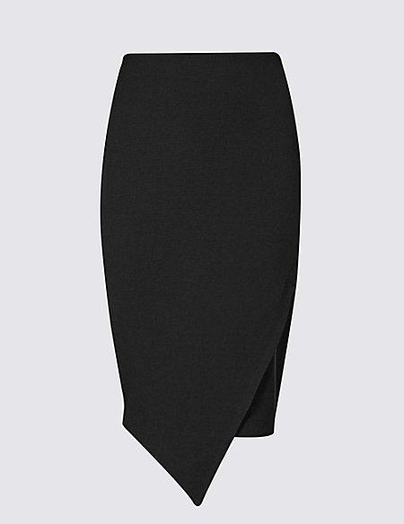 Asymmetric Wrap Pencil Skirt