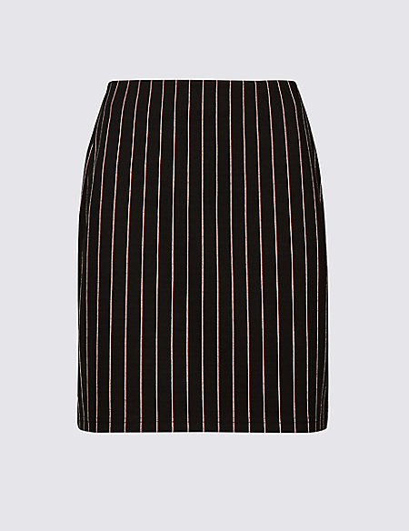 Striped Jersey A-Line Mini Skirt