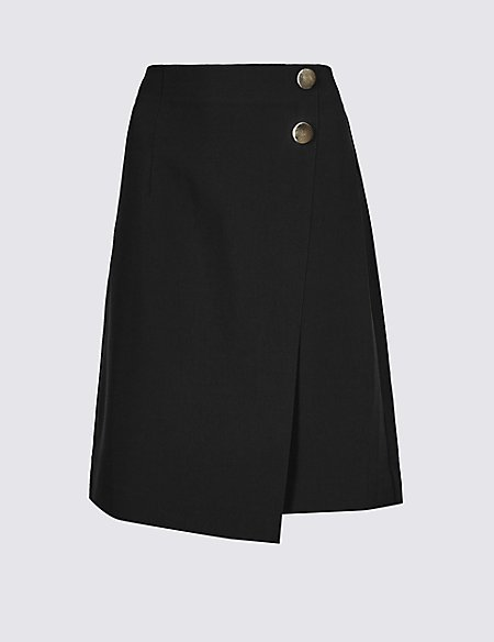 Button Detail Wrap Mini Skirt