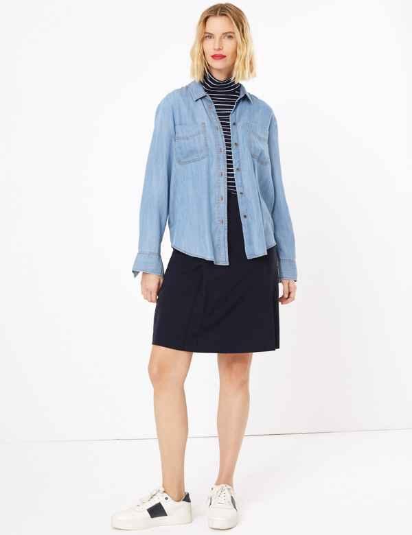16c012c85d Button Front A-Line Mini Skirt