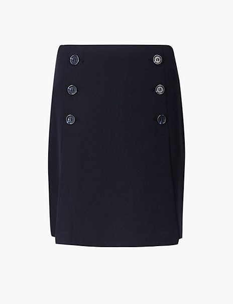 Button Front A-Line Mini Skirt