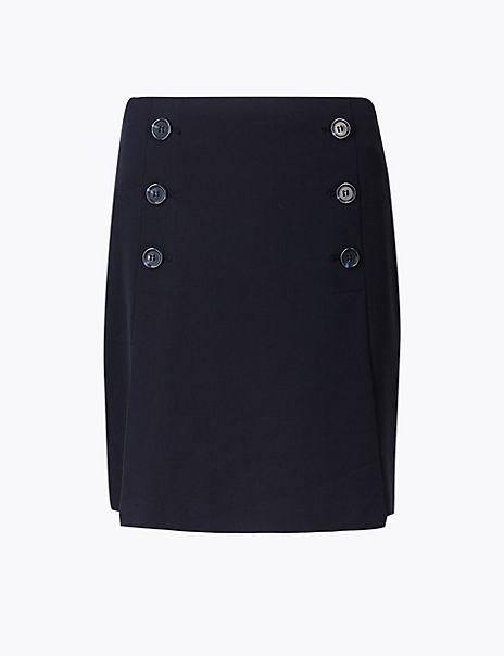 Button Front A-Line Mini Skirt