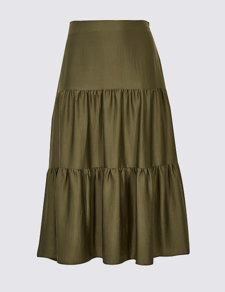CURVE Tiered Full Maxi Skirt
