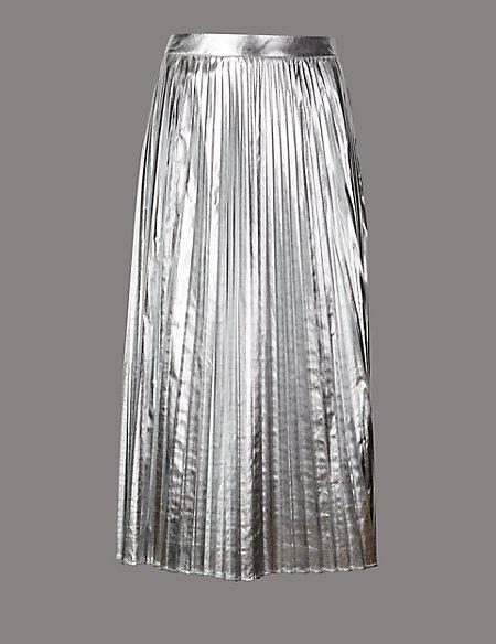 Metallic Pleated A-Line Midi Skirt