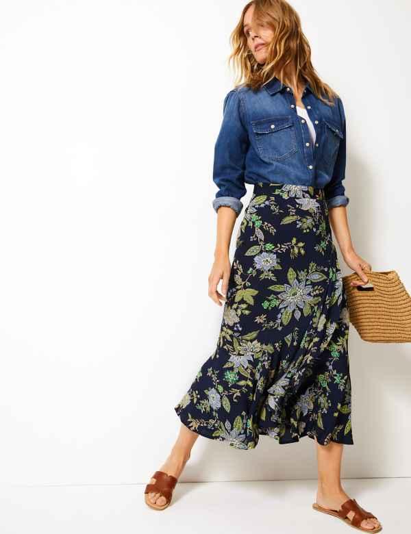 7d72a67825cc Floral Print Pretty Ruffle Midi Skirt