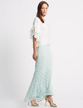 Fishtail Floral Lace Pencil Maxi Skirt