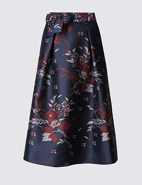 Tie Waist Floral Print A-Line Skirt
