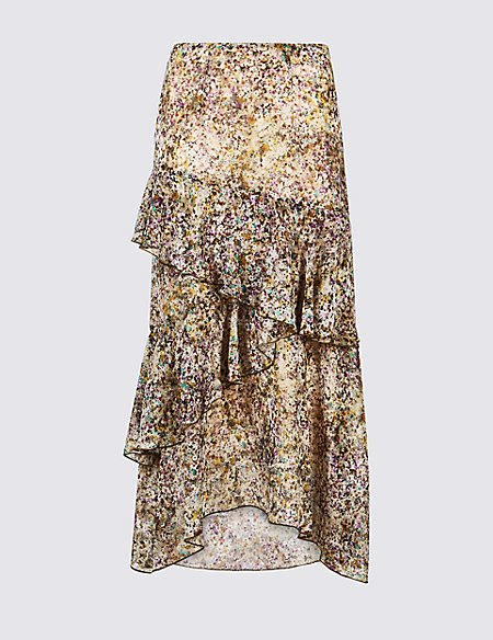 Floral Print Ruffle Midi Skirt