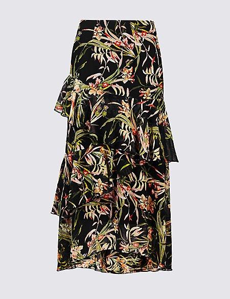 Floral Print Ruffle Wrap Midi Skirt