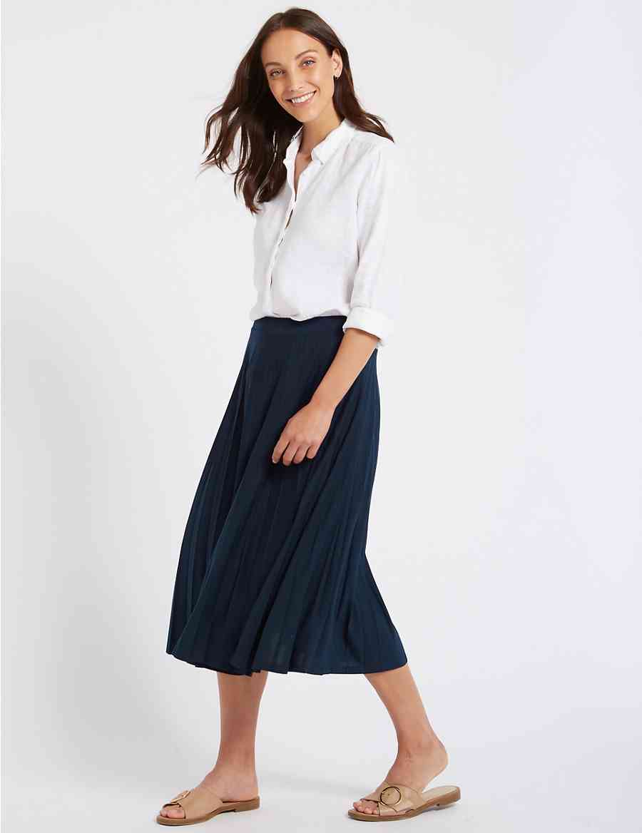 7b5c7a7b9de Jersey Pleated Midi Skirt