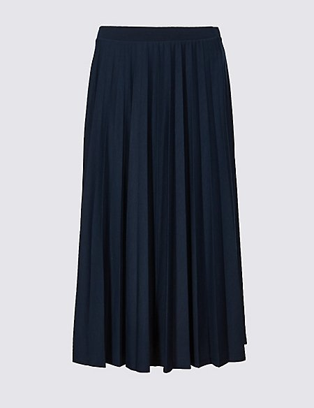 Jersey Pleated Midi Skirt
