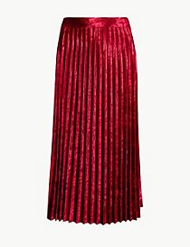 Velvet Pleated Midi Skirt