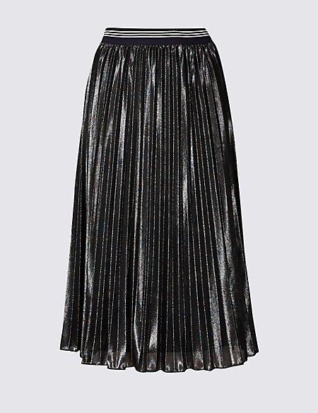 Sparkly Pleated Midi Skirt