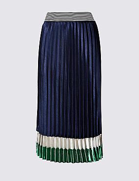 Colour Block Satin Pleated Midi Skirt