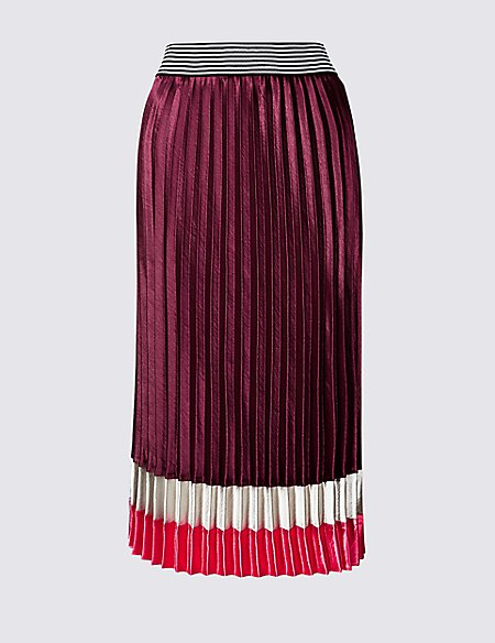 Colour Block Satin Pleated Midi Skirt