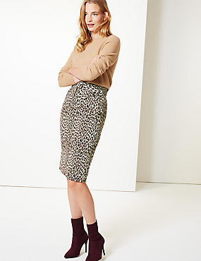 Brushed Animal Print Pencil Skirt
