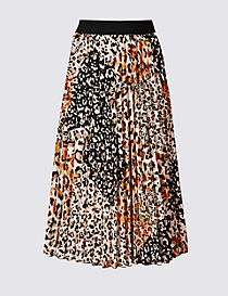 Animal Print Pleat Midi Skirt