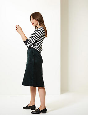 Cotton Rich Textured A-Line Midi Skirt