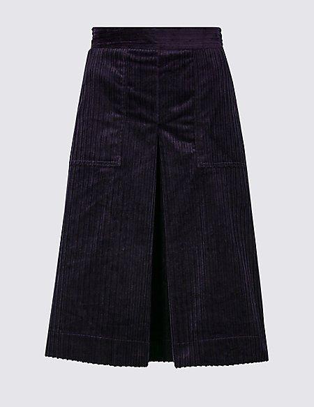 Corduroy A-Line Midi Skirt