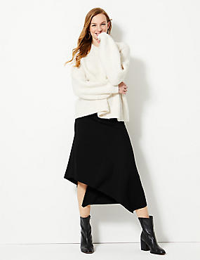Textured Jersey Asymmetrical Midi Skirt
