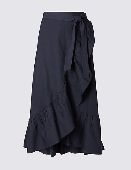 Pure Cotton Striped A-Line Wrap Midi Skirt