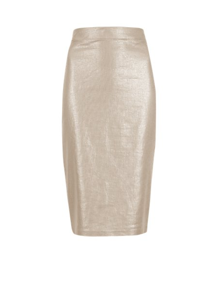 Linen Blend Metallic Effect Pencil Skirt