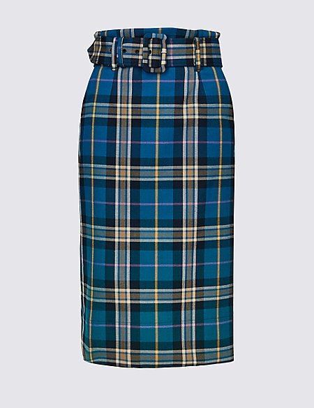 Checked Pencil Midi Skirt
