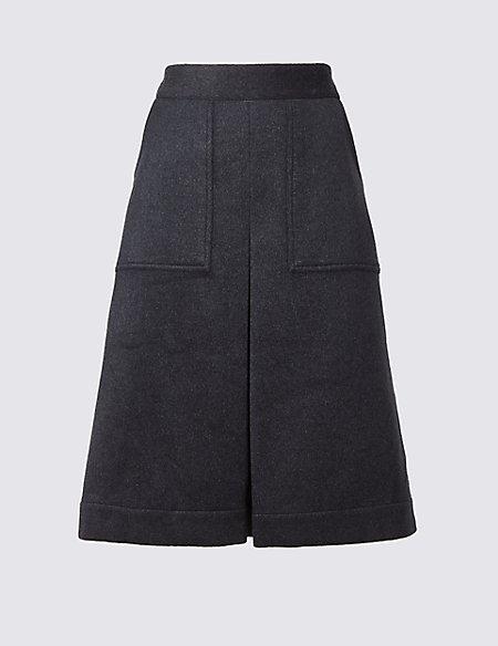 Wool Blend A-Line Skirt