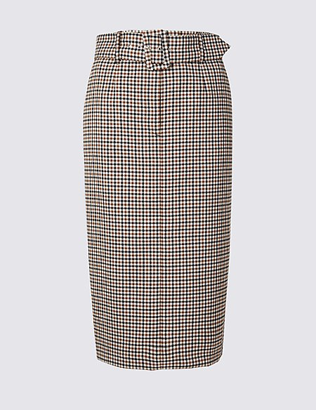 Checked Pencil Skirt