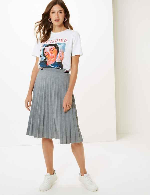 d14f27d63e Jersey Pleated Midi Skirt