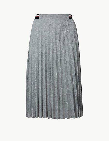 Jersey Pleated Midi Skirt