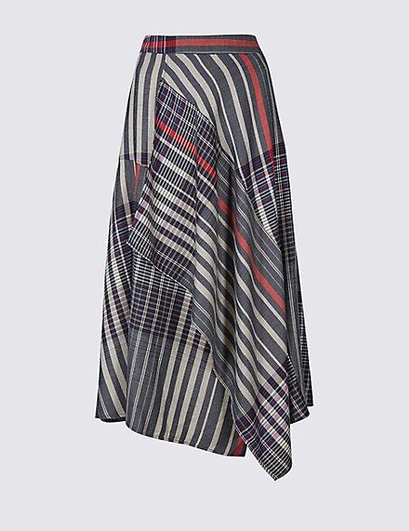 Asymmetric Checked Wrap Midi Skirt