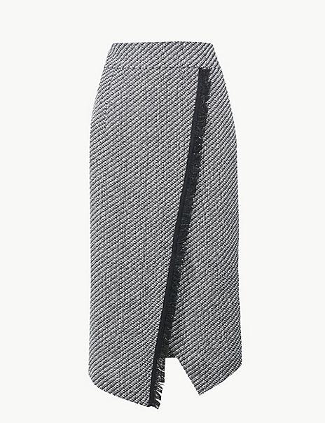 Jacquard Print Pencil Midi Skirt