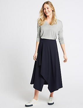 Deconstructed Stripe Wrap Midi Skirt