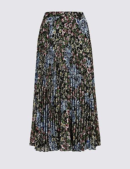 Floral Print Pleated Straight Hem Midi Skirt