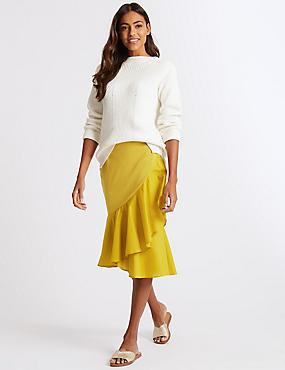 Frill Hem Wrap Skirt