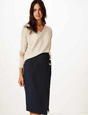 Button Detail Pencil Skirt