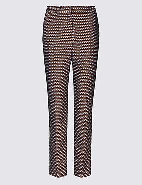 Cotton Blend Jacquard Straight Leg Trousers