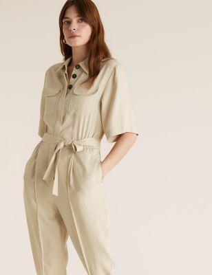Womens M&S Collection Combinaison pratique avec ceinture - Stone