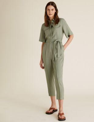 Womens M&S Collection Combinaison pratique avec ceinture - Soft Khaki